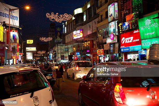 Busy traffic on Brigade Road in Bangalore on Christmas eve