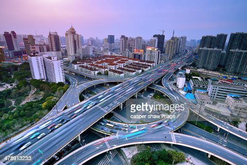Busy traffic on the viaduct : Stock Photo