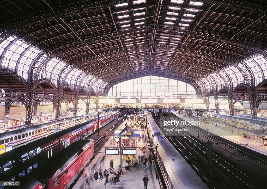 Busy train traffic at Hamburg Central Station.