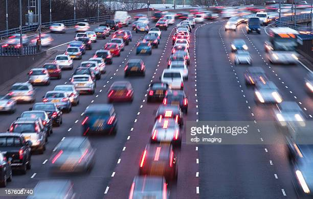 Busy urban motorway at dusk