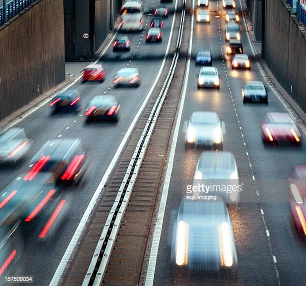 Busy urban motorway with rush hour traffic