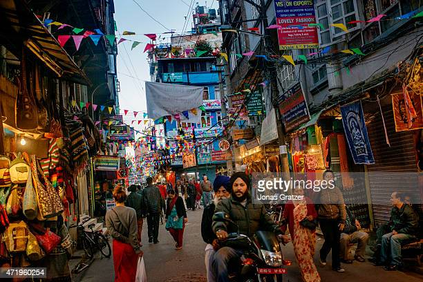 A busy walking street shopping district in an alleyway of Kathmandu Nepal