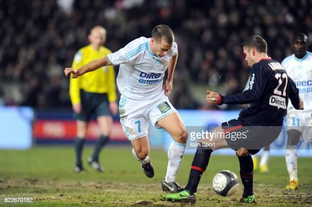 But Benoit CHEYROU petit pont sur Armand PSG / Marseille 27eme journee de Ligue 1 Parc des Princes