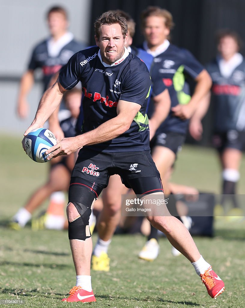 Butch James of the Sharks during The Sharks training session at Growthpoint Kings Park on June 13, 2013 in Durban, South Africa.