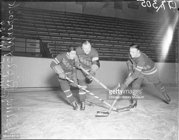 Butch Keeling Vic Ripley and Murray Murdoch of the New York Rangers hockey team Chicago Illinois November 1934 From the Chicago Daily News collection