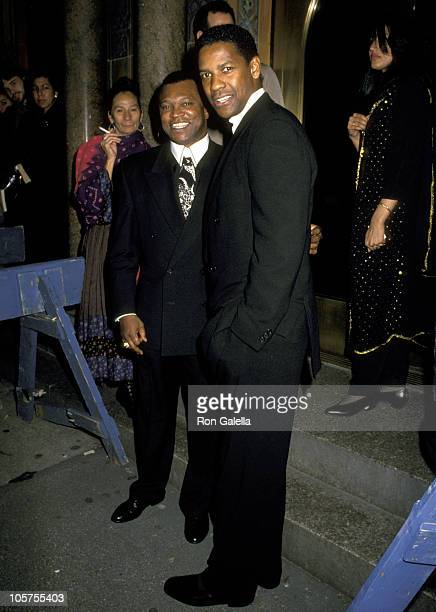 Butch Lewis and Denzel Washington during The Alvin Ailey American Dance Theater 35th Anniversary Gala at City Center in New York City New York United...