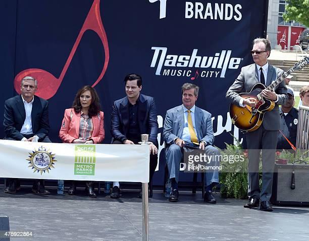 Butch Spyridon President/CEO NCVC Loretta Lynn Jack White Nashville Mayor Karl Dean and Recording Artist David Andersen entertains during Loretta...