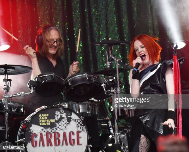 Butch Vig and Shirley Manson of Garbage perform at Chastain Park Amphitheater on August 6 2017 in Atlanta Georgia