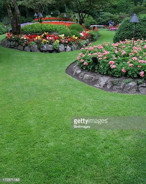 Butchart gardens colorful flower beds