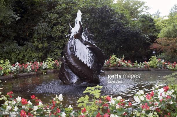 Butchart Gardens Sturgeon Fountain on August 30 2014 in Victoria British Columbia Canada