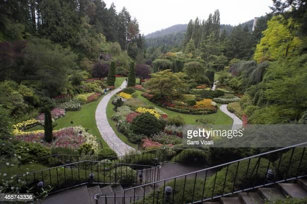 Butchart Gardens Sunken Garden on August 30 2014 in Victoria British Columbia Canada