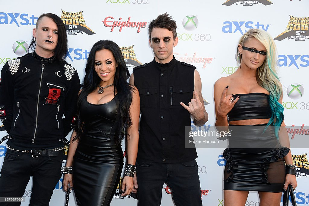 Butcher Babies arrive at the 5th Annual Revolver Golden Gods Award Show at Club Nokia on May 2, 2013 in Los Angeles, California.