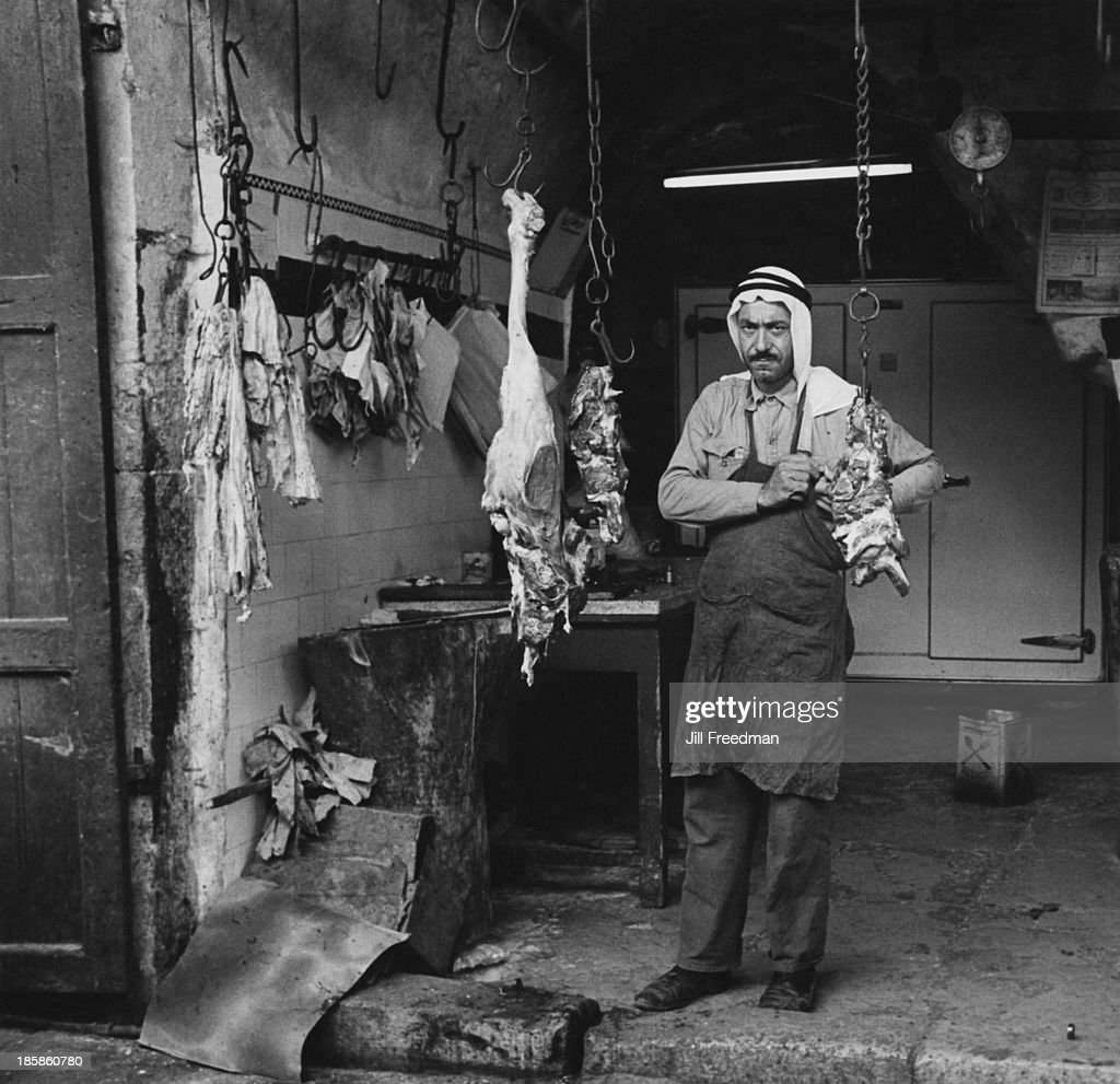 A butcher busy at work a month after the end of the Six Day War Hebron West Bank July 1967