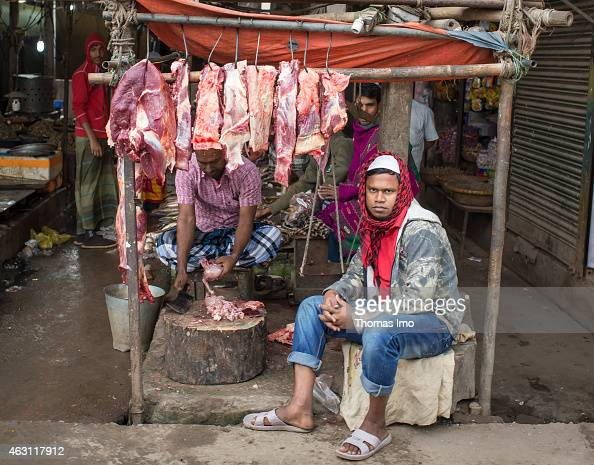 Butcher selling meat on the street on December 08 2014 in Tongi Bangladesh