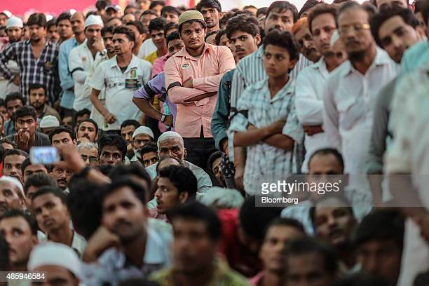 Butchers and traders attend a protest against the ban of beef organized by by the Sarv Shramik Sangh the trade union of the Lal Nishan Party at Azad...