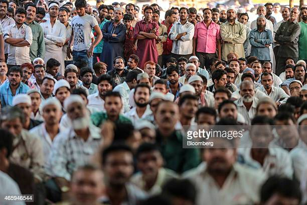 Butchers and traders attend a protest against the ban of beef organized by the Sarv Shramik Sangh the trade union of the Lal Nishan Party at Azad...