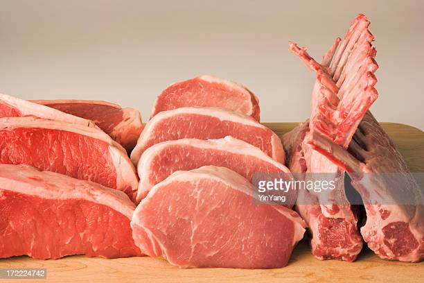 Butcher's Shop Meats—Raw Steak, Pork Chop, Rack of Lamb