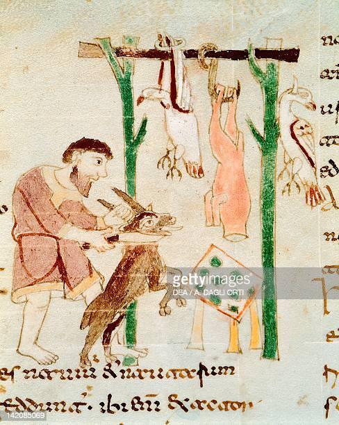 A butcher's shop miniature from De universo by Rabano Mauro manuscript Italy 11th Century