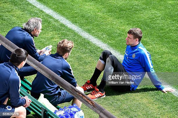 Butelle Ludovic goalkeeper of Club Brugge and Preud'homme Michel head coach of Club Brugge pictured during practice session in Marbella football...