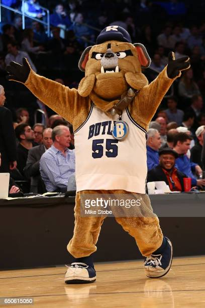 Butler Bulldogs America's Dog mascot perform during a time out in the game between the Xavier Musketeers and the Butler Bulldogs during the Big East...