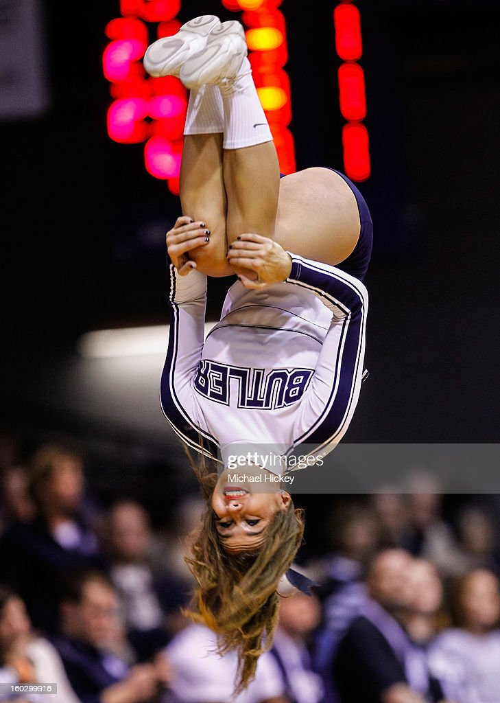 A Butler Bulldogs cheerleader performs during the game against the Temple Owls at Hinkle Fieldhouse on January 26, 2013 in Indianapolis, Indiana.