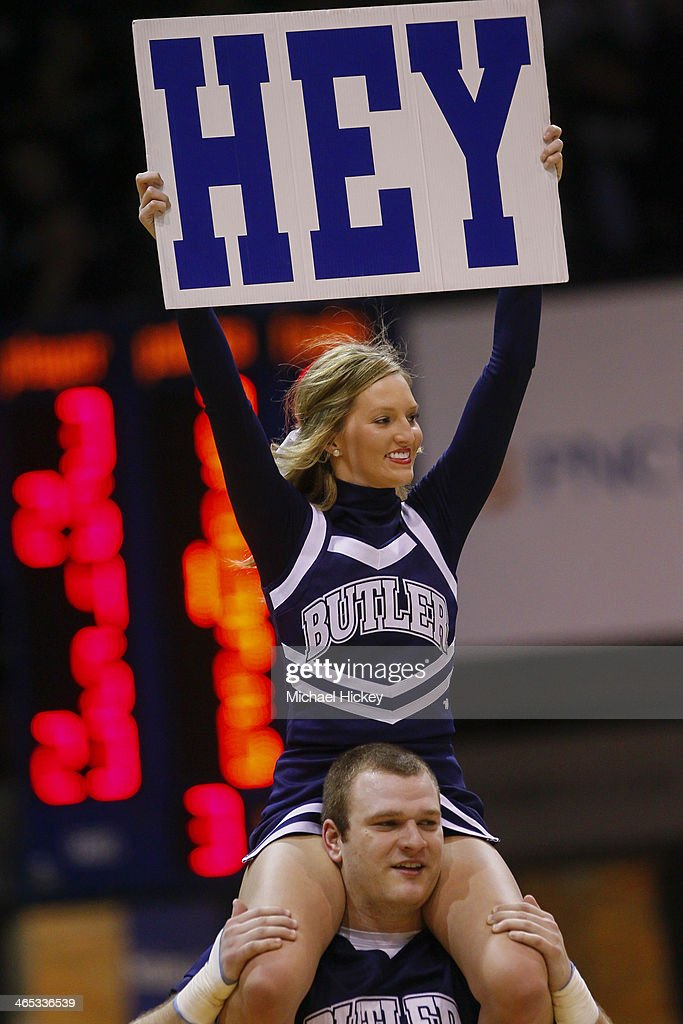 A Butler Bulldogs cheerleader seen on court during the game against the Georgetown Hoyas at Hinkle Fieldhouse on January 11, 2014 in Indianapolis, Indiana. Georgetown defeated Butler 70-67.