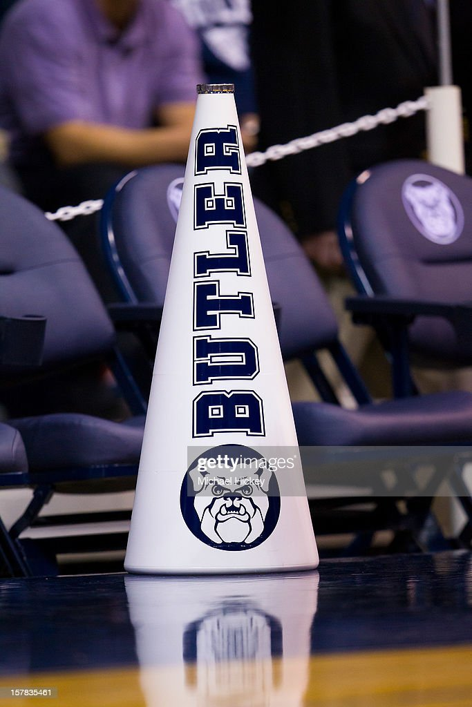 A Butler Bulldogs cheerleader's megaphone seen on the floor before the game against the IUPUI Jaguars at Hinkle Fieldhouse on December 5, 2012 in Indianapolis, Indiana. Butler defeated IUPUI