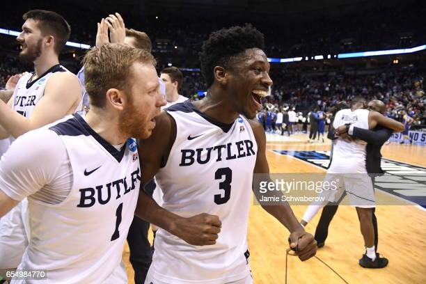 Butler Bulldogs guard Kamar Baldwin and guard Tyler Lewis celebrate following their victory over Middle Tennessee State during the 2017 NCAA Men's...