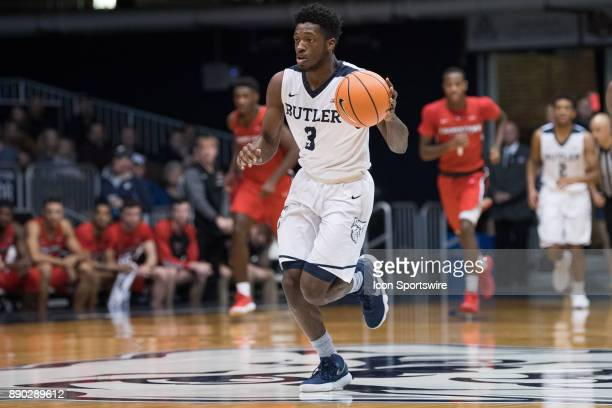 Butler Bulldogs guard KamarBaldwin brings the ball up the court on a fast break during the men's college basketball game between the Butler Bulldogs...