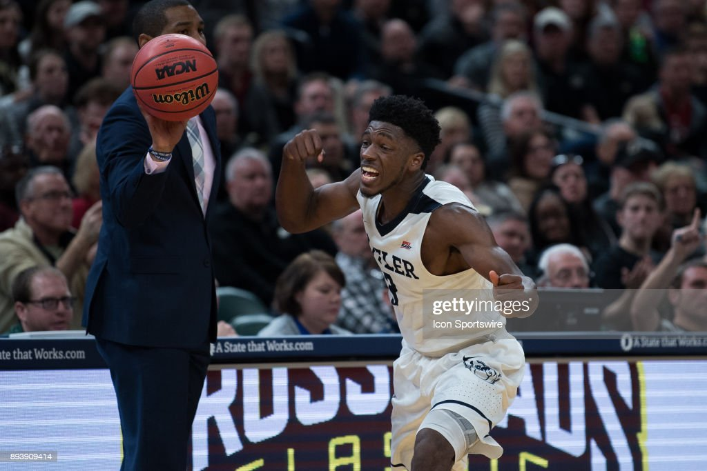Butler Bulldogs guard Kamar Baldwin (3) celebrates after getting a steal during the Crossroads Classic basketball game between the Butler Bulldogs and Purdue Boilermakers on December 16, 2017, at Bankers Life Fieldhouse in Indianapolis, IN.