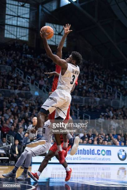 Butler Bulldogs guard KamarBaldwin drives to the basket during the men's college basketball game between the Butler Bulldogs and Youngstown State...
