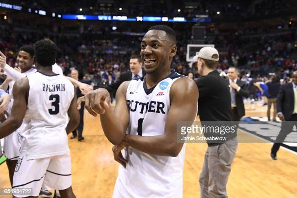 Butler Bulldogs guard Tyler Lewis reacts to defeating Middle Tennessee State during the 2017 NCAA Men's Basketball Tournament held at BMO Harris...