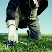 Butler cutting grass with scissors, low angle view  (Composite)