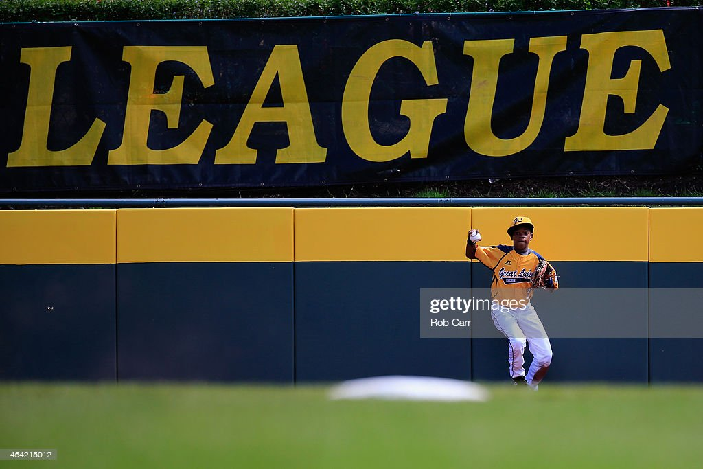 DJ Butler #1 of the Great Lakes Team from Chicago, Illinois makes a catch in the outfield against Team Asia-Pacific during the Little League World Series Championship game at Lamade Stadium on August 24, 2014 in South Williamsport, Pennsylvania.