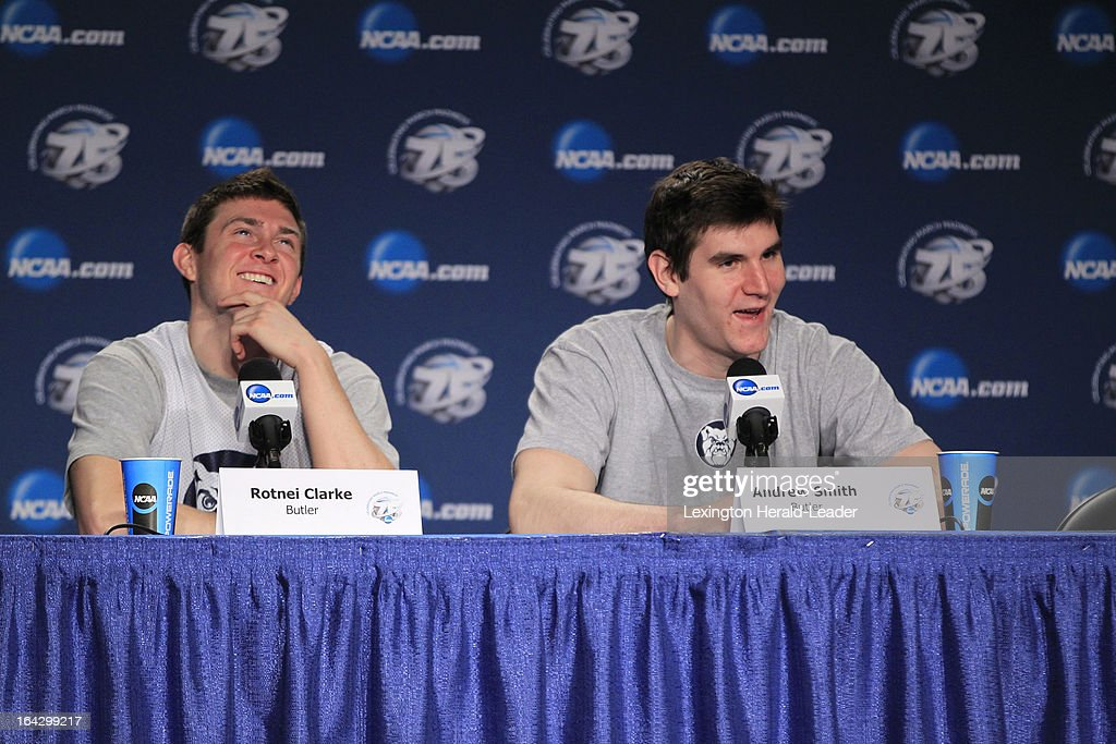 Butler player Rotnel Clarke left and Andrew Smith answer questions during an interview session at Rupp Arena in Lexington Kentucky Friday March 22...