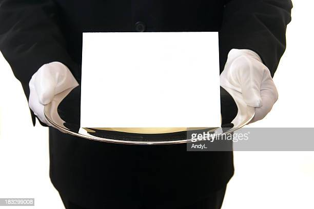 Butler Presenting Blank Card on Silver Tray