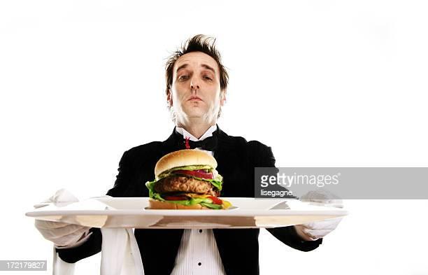 Butler serving dinner
