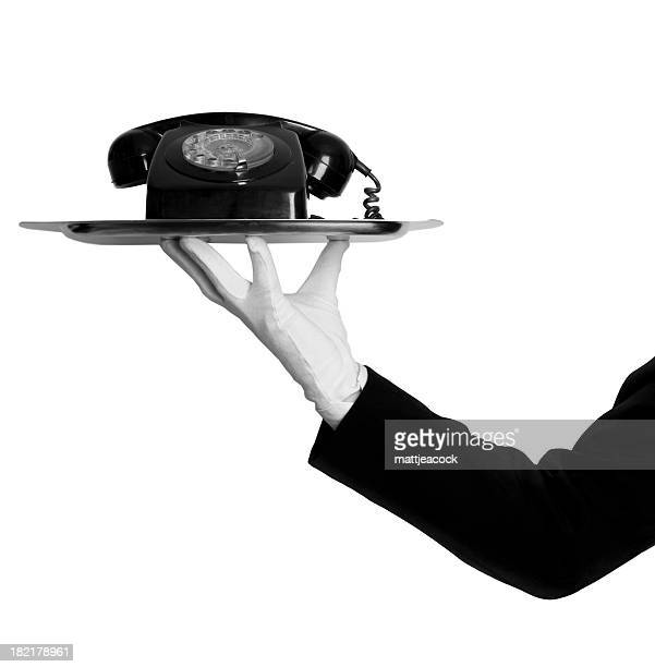 Butler with telephone