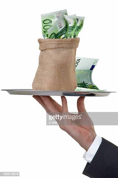 Butler's Hand serving a money sack