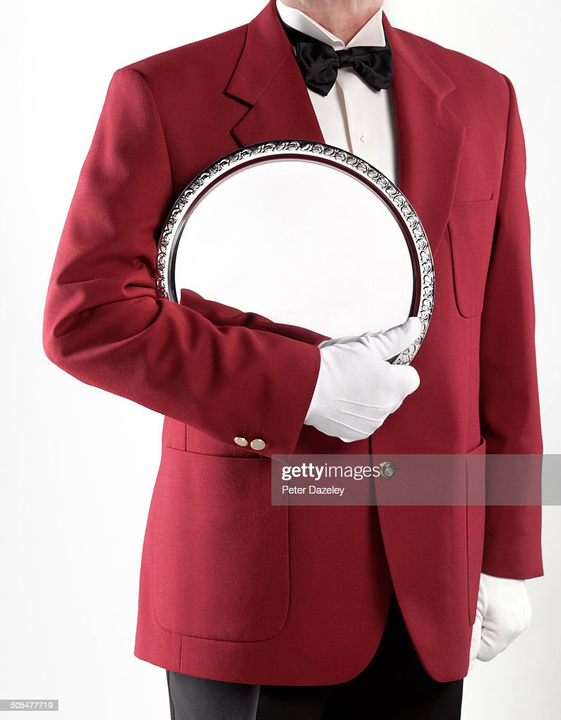 Butler/waiter with silver platter