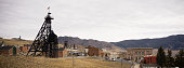 Structures and hills that make up part of Butte, Montana