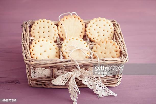 Butter cookies with peekaboo design in little basket