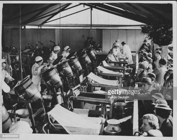 A butter making contest at the Monmouth Royal Welsh Show July 1937