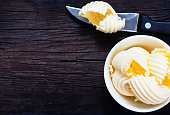 butter on plate and on a table