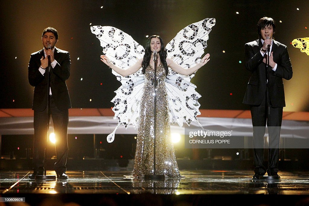 Butterflies from Belarus performs the song '3+2' during the semi-finals of the Eurovision Song Contest in Telenor Arena in Baerum, Norway, on May 25, 2010. The 55th Eurovision Song Contest finale will take place on May 29 in the Telenor Arena in Oslo, after Norwegian Alexander Rydbak took the top prize in Moscow last year with his song 'Fairytale'. AFP PHOTO/SCANPIX/Cornelius Poppe ==NORWAY