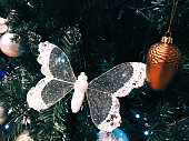Butterfly decoration on the Christmas tree