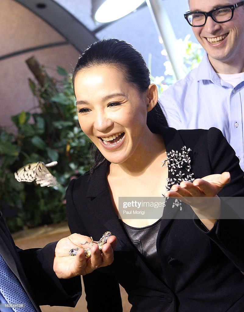 A butterfly flys from jewelry artist Cindy Chao's hand during a visit to NMNH Butterfly Habitat Garden after a ceremony to accession her Black Label Masterpiece Royal Butterfly Brooch into the Smithsonian's National Museum of Natural History on March 5, 2013 in Washington, DC.