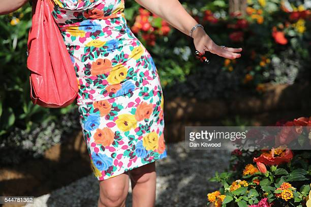 A butterfly lands on a womans hand in the Butterfly House during the press preview day of the Hampton Court Palace Flower Show on on July 4 2016 in...