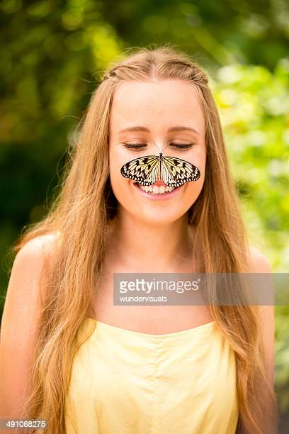 Butterfly on girls nose