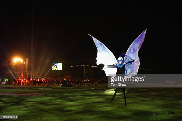 A butterfly on stilts during the opening ceremony during the IPL T20 match between Rajasthan Royals and Royal Challengers Bangalore at Newlands...